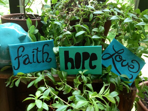 Faith Hope and Love on ACEO size Canvas - Hand Painted