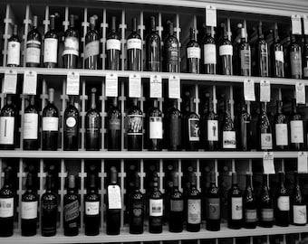 Wine Bottles, Napa, Oakville Grocery, Black & White Print Photograph