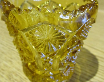 Vintage Yellow Cut Glass Toothpick Holder