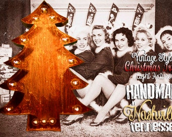 Marquee Christmas Tree, Lighted Metal MARQUEEE SIGN Marquee Light Fixture: Channeled Holiday Christmas tall