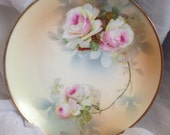 Bavaria Fine China Plate, Ragouse Signed, Floral, Pink/White Roses, embossed