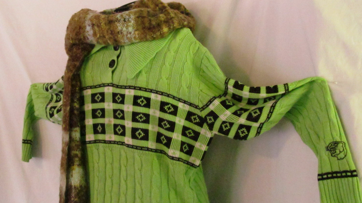 vintage arctic cat sweater neon green snowmobile clothing