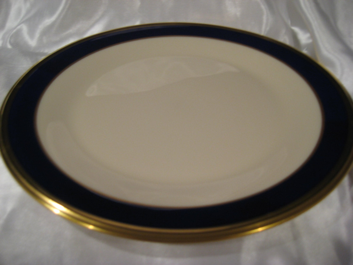 Lenox China Dinner Plate Cobalt Blue With Gold Trim Marked