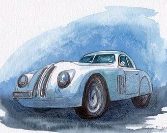 Original Painting, Watercolor, Handpainted, Car, Dream Car, 7,6x11,6 inch. NOT a print! Tatiana-Art.