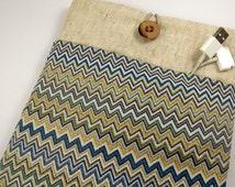 iPad Sleeve iPad Air sleeve Case, Custom Sized Tablet Case, padded wihh pocket- geometric chevron