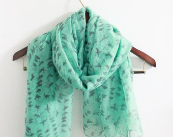 mint green bird scarf, Christimas gifts, stocking stuffers, scarf for her, gift for her, gift for women, birthday gift, unique gift