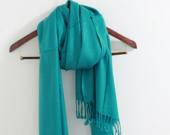 Teal Pashmina Scarf Pashmin Shawl Bridesmaid Scarf Silky Pashmina Scarf Wedding Gifts