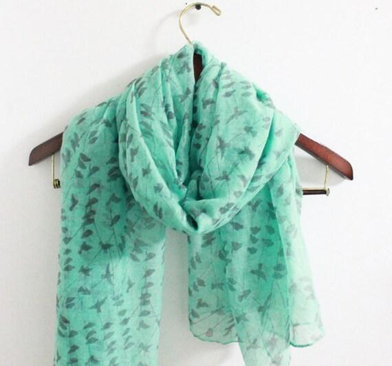mint green bird scarf christimas gifts stuffers