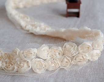 "Lace Trim Lace Fabric Cream 2 Rows Rose Wedding Fabric DIY Handmade 2.16"" width 2 yards"