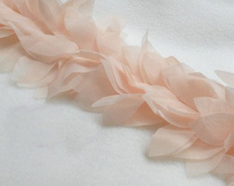 Lace Trim Lace Fabric Pink Leaves Chiffon Flower DIY Handmade 1 yard