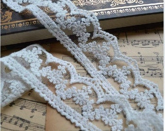 """Lace Trim Lace Fabric Flower Embroidery Lace White Lace DIY Handmade 1.37"""" width 2 yards"""