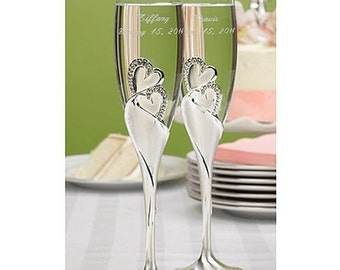 Personalized Sparkling Love Flutes Wedding Champagne Glasses Toasting Glasses Engraved Ceremony Reception