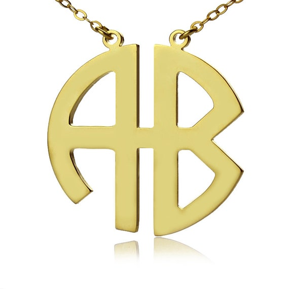 2 letters gold block monogram necklace two by With 2 letter monogram necklace