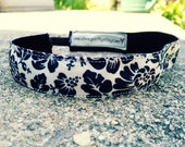 Sweat Me Pretty Non Slip Headband in Ivory and Black Floral Pattern