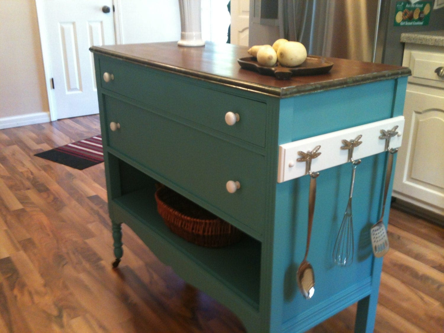 Repurposed Upcycled Dresser Made Into Charming Turquoise Aqua