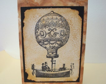 Steampunk card hot air balloon vintage style card handmade stamped blank inside