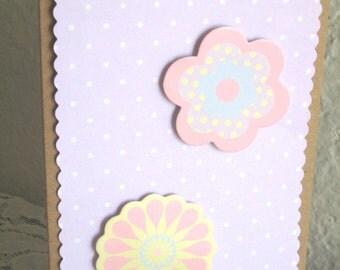 Baby card - flowers purple