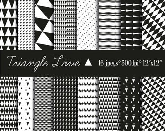 Digital Paper Triangle Geometric Scrapbooking Monochrome Download Commercial Use