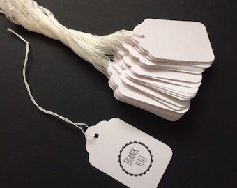 50 White Pre-Strung Tags// Luggage tag, paper tag, wedding favor tag, gift tag, merchandise tag