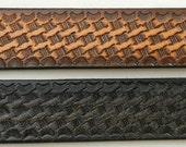 Leather Belt. BT545  Slanted basketweave design; Black or Brown; Includes utility buckle & leather keeper