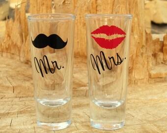 Mr. and Mrs. Personalized Shot Glasses - Lip Shot Glass - Mustache Shot Glass - Wedding Glassware