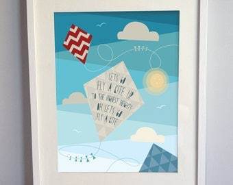 Childrens Nursery Print - Kites 'Lets go fly a kite'