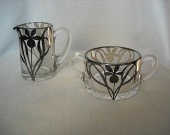 Awesome Glass Art Nouveau Sugar and Creamer Set