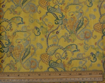 "Yellow/Blue Printed Crinkled Chiffon 100% Silk Fabric 1.20 yard piece 42"" W (TS-7451)"
