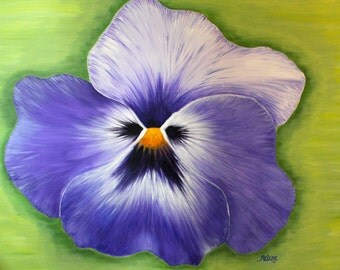 "40"" x 30"" Original Painting, Large Flower Painting in Purple, Acrylic on Canvas, Ready to Hang"