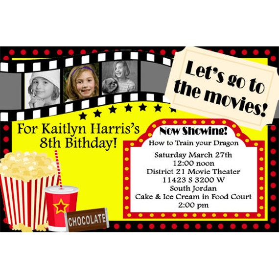 movie theater birthday invitations movie party movie night movie birthday party invitations digital file or printed invitations - Movie Birthday Party Invitations