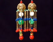 Traditional Chinese earrings hand made with semiprecious gemstones by Ariel Tian Jewelry: Twelve Ladies of Jinling - Yuanchun - ArielTianJewelry