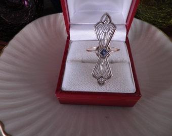 SALE 30%....Lovely 14kt Vintage Filigree Art Nouveau Ring