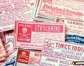 Vintage Poison stickers: 40 Vintage Halloween paper stickers or 12 large wine bottle labels, Poison labels, potion labels, red, blue, black