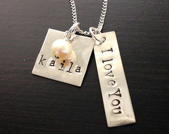 I love you Square Hand stamped Sterling Silver Necklace- Custom name