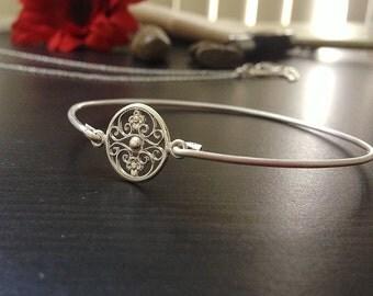 Filigree- Custom Bangle -Sterling Silver- Personalized Bracelet