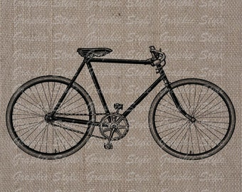 Vintage Bicycle Digital Image Collage Sheet Transfer To Pillows Tote Tea Towels Burlap