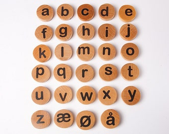 Norwegian or Danish lowercase Letter Magnets alphabet , montessori letters, kids wooden toys, educational game, kids christmas gift