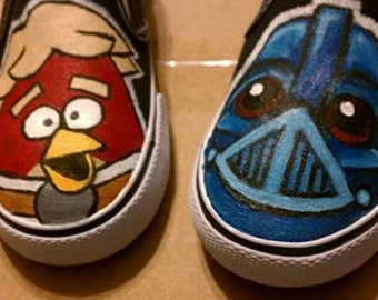 Custom hand painted Angry Birds Star Wars Toddler Children's shoes