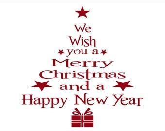 Christmas Decorations-Holiday Wish Christmas Tree Wall Decal-Christmas Decal- Christmas Tree Decal- Christmas Wall Decal- Christmas Decor
