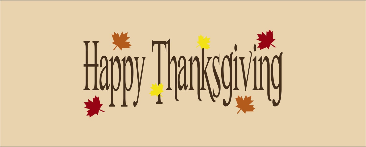 Thanksgiving Decal-Happy Thanksgiving with Leaves Vinyl Wall Decal ...