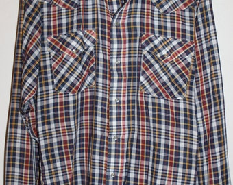 vintage panhandle slim western plaid pearl snap long sleeve shirt super soft pearl snap
