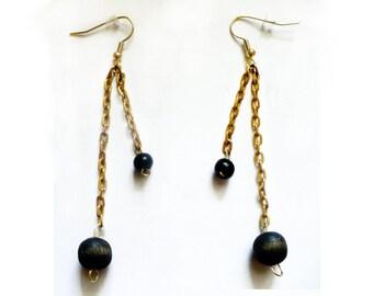 Vintage Gypsy's earrings - black & old gold