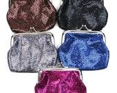 Vintage 50s Style Glitter Coin Purse Change Purse Clutch Wallet Various Colors