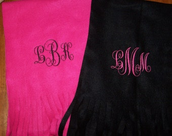 Custom monogrammed Fleece scarf any color