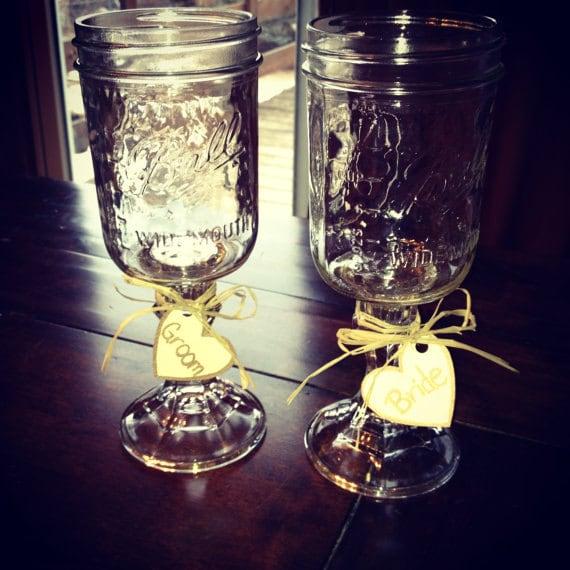 Items similar to mason jar toasting glasses redneck goblets on etsy - Mason jar goblets ...