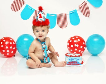 Baby Boy/ Toddler Dr. Seuss Cat In The Hat Cake Smash Outfit  for First Birthday.  Includes:  Party Hat, Tie and Diaper cover
