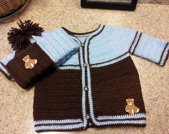 Chocolate Brown/Blue Sweater & Hat Set