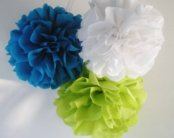 "8"", 9"", 10"" fabric pom poms green blue white BRIGHT, custom colors available"