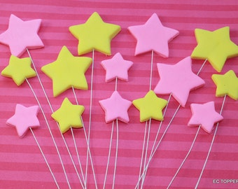 12 Fondant Shooting Stars Add on Cake Toppers