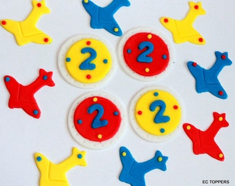 12  Fondant Airplane cupcake Toppers